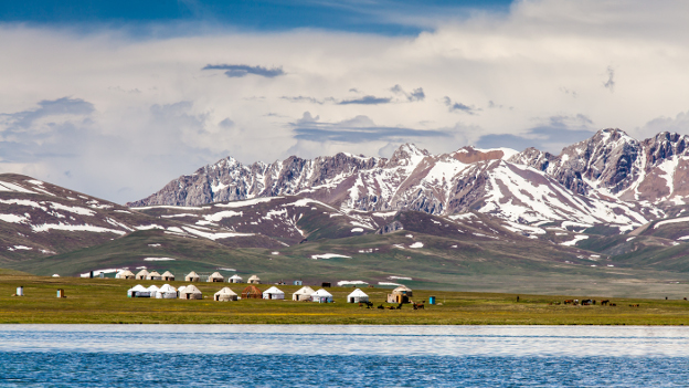 Kyrgyz yurts at Song Kul - high mountain lake in the Tian Shan Mountains in Kyrgyzstan